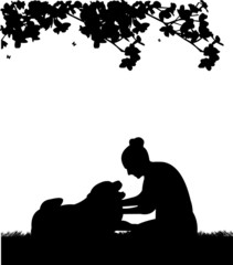 Happy girl playing and petting his dog in garden silhouette