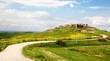 Winding road to a village in Tuscany.