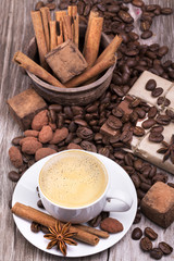 coffee with Chocolate bar and spices