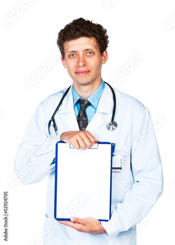 Male doctor showing clipboard with copy space for text