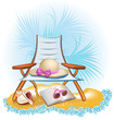 seaside summer holiday background with palm,chair,umbrella,book