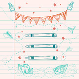 Doodles with bunting flags, bird, paper boat and plane