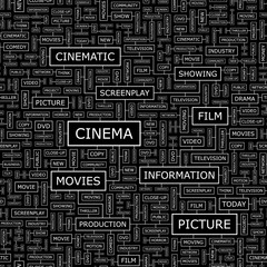 CINEMA. Word cloud concept illustration.