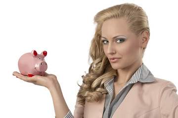 blonde woman with piggybank