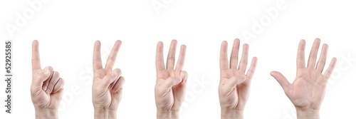 counting hands on white background