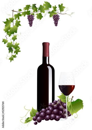 Rotweinflasche und Rotweinglas
