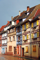 Beautiful old houses in downtown Colmar, France