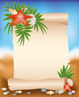 Blank paper scroll on summer background with starfish