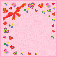 Greeting postcard on pink