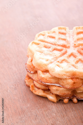 sweet sugared brown baked waffles