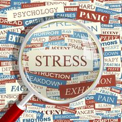 STRESS. Word cloud concept illustration.