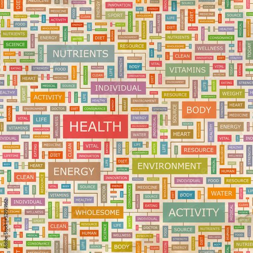 HEALTH. Word cloud concept illustration.