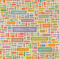 CONSULTING. Word cloud concept illustration.