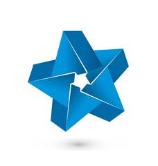 3D blue star logo vector