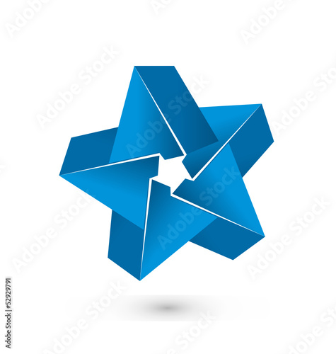 3D blue star logo vector