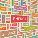 ENERGY. Word cloud concept illustration.