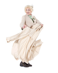 Dancing granny, isolated on white background.