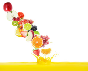 fresh juice pours from fruits