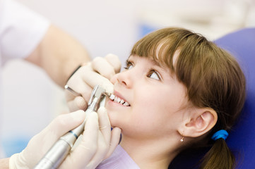 close-up medical dentist procedure of teeth polishing with clean