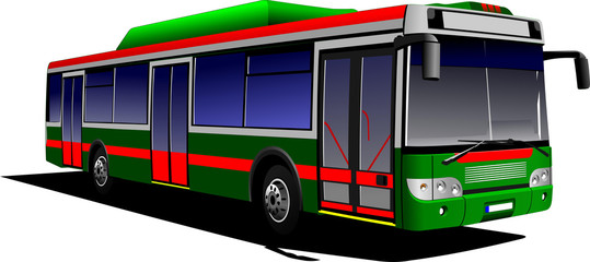 Red-green city bus. Coach. Vector illustration