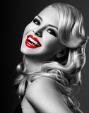 Fototapety beautiful blonde  woman with bright red lipstick