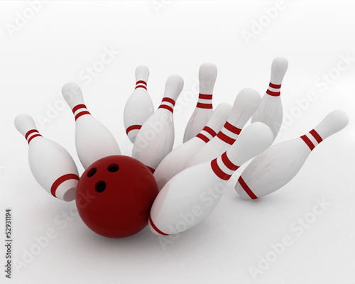 bowling ball crashing into the pins on white background