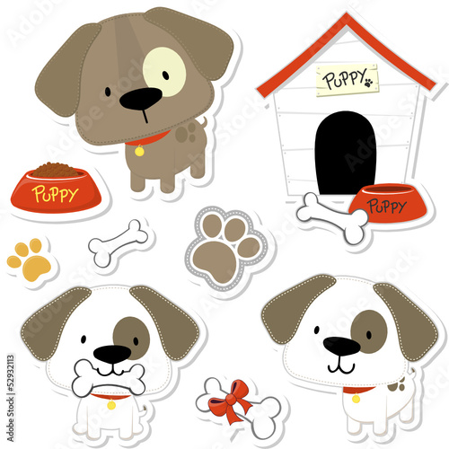 cute puppy vector collection for scrapbook