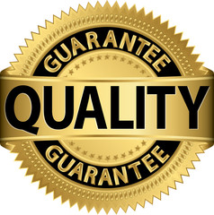 Quality guarantee golden label, vector illustration