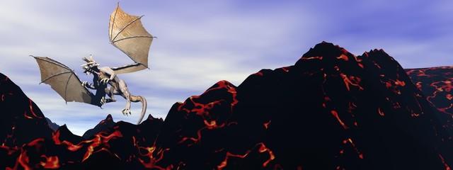dragon and volcano