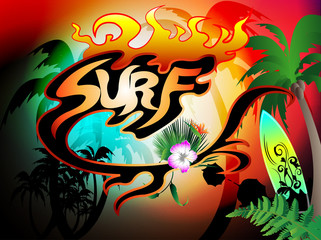 surf background with surfboard