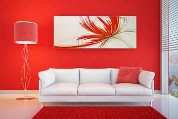 divano rosso lampada
