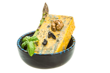 Gold cheese with mould