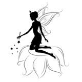 Silhouette of a fairy with magic wand.
