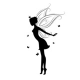 Silhouette of a fairy and butterfly.