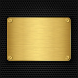Golden texture plate with screws, vector illustration