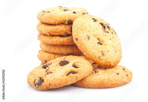 Stack of delicious cookies with chocolate chips on white
