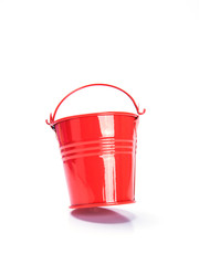 red bucket on white background