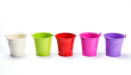 colorful bucket on white background