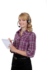 Blond call-center worker