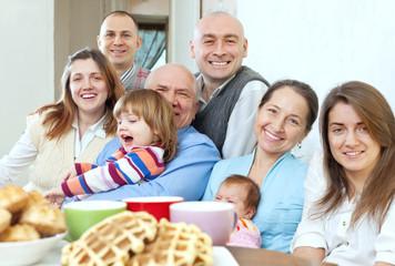 large happy three generations family