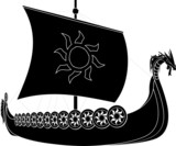 viking ship. stencil. second variant
