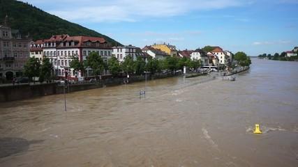 Hochwasser des Neckar bei Heidelberg - Altstadt