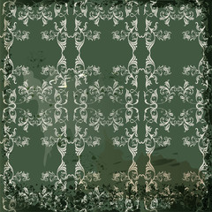 Green  vintage background  in scrapbook style