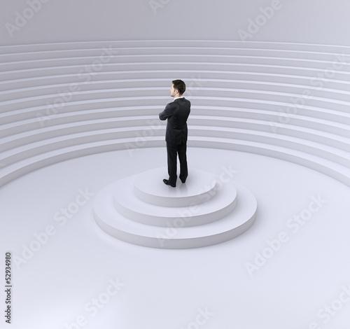 businessman standing on a podium