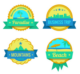 Travel Adventures Logo templates. Vintage labels for vacation