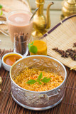 Indian Biryani mutton rice with traditional background