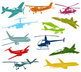 Set of a various type of a aircraft
