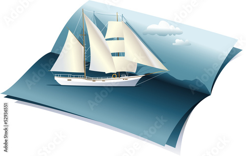 Summer background with sea and boat