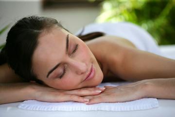 Woman laying down at health spa