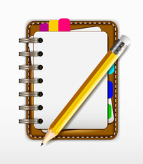 blank notepad with yellow pencil for you design
